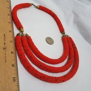Jewelry - African red coral  ? Beaded bar Statement piece